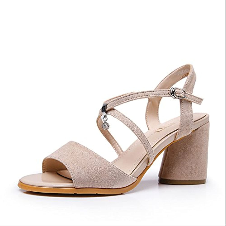 H&Y HY Sommer Damen High Heel Kreuzgurte Strass verziert offene Zehe Damen Sandalen (Farbe : Braun größe : 34)