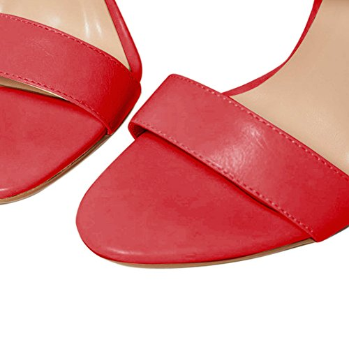 Damen Open Toe Sommer Sandalen High-Heels Criss Cross Stiletto Slingback Rot