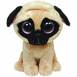 Ty 7136079 - Perro de peluche (13x4x4 cm) (36079) - Peluche Beanie Boos Pugsly Dog (15 cm), Peluche