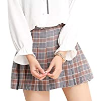 Minzhi Frauen Grid Gefalteter Rock mit hoher Taille Miniskirt A-Lineskirt Tennis Kurze Röcke