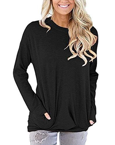 ZIOOER Damen Pulli Tasche Langarm T-Shirt Rundhals Ausschnitt Lose Bluse Langarmshirts Hemd Pullover Sweatshirt Oberteil Tops