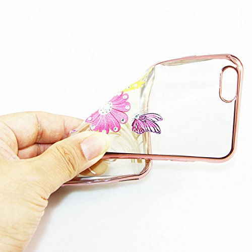 iPhone 6S Plus Hülle Silicone,iPhone 6S Plus Hülle Glitzer,iPhone 6S Plus / 6 Plus Hülle TPU Case Schutzhülle Silikon Crystal Clear Case,EMAXELERS iPhone 6S Plus Hülle Bunte Blumen Schmetterling Muste Gold TPU 8