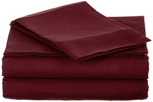 Home Soft Things Serenta 1600Serie 90GSM massiv Supreme knitterfreies Betten Bettwäsche und Kissenbezug Set, King, Burgund - Queen Supreme Spannbetttuch