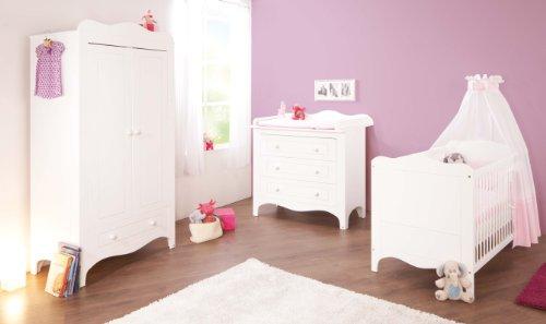 Preisvergleich Produktbild Pinolino Kinderzimmer Fleur breit, 3-teilig, Kinderbett (140 x 70 cm), breite Wickelkommode mit Wickelaufsatz und Kleiderschrank, weiß Edelmatt (Art.-Nr. 10 34 72 B)