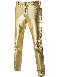 339ae0d0f1 Mens Casual Trousers Jeans Metallic Black Gold Silver Golf Straight Leg  Nightclub Style Pants Slim Fit