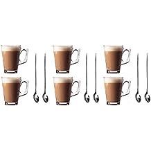 Juego de 6 tazas Premium de cristal para café con leche de 240 ml (8,8 onzas) + Pack GRATIS de 6 cucharillas de café con mango largo (19 cm) en acero inoxidable – Ideal para espresso, cappuccino, café, té, chocolate caliente, bebidas calientes, y las cafetera Tassimo y Dolce Gusto presentadas por Kitchen Stars