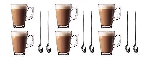 Set von 6Premium Latte Macchiato Gläser Tassen, 250ml (,) + Gratis Packung 6langen Griff (19cm) Edelstahl Latte Löffel–ideal für Espresso, Cappuccino, Kaffee, Tee, heiße Schokolade, heiße Getränke, Tassimo & Dolce Gusto Kaffee Maschinen von Küche (Latte Macchiato Tasse)