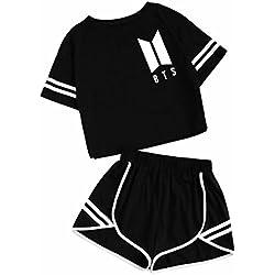 2018 Summer Cotton Striped Women's Chándal BTS Clothes Set 2 Piezas Mujer Trajes Cortos Crop Top + Shorts Pantalones Traje