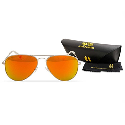 Alpha Industries Top Gun Sunglasses, color frame/shades:gold/gold Silver/Green