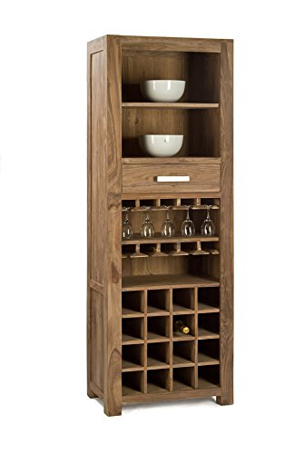 Quadrato - Weinregal INDO, Holz Sheesham natur, Maße: B 65 x H 185 x T 40 cm