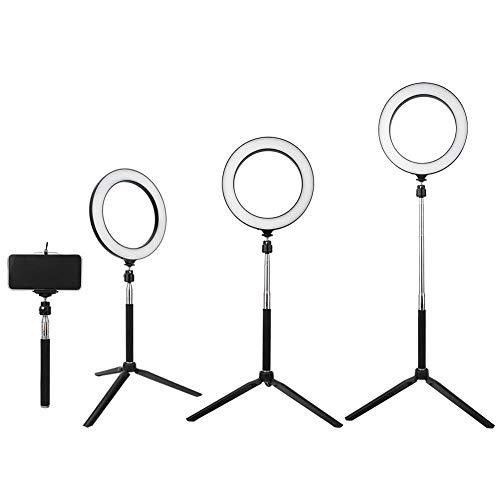 Topiky Luce Video Anello LED da 8 Pollici, dimmerabile 3200K-5500K Temperatura Colore Luminosità Fotografia Anello di tiro Lampeggia Kit Lampada con Stick per Selfie, Clip per Telefono e treppiede