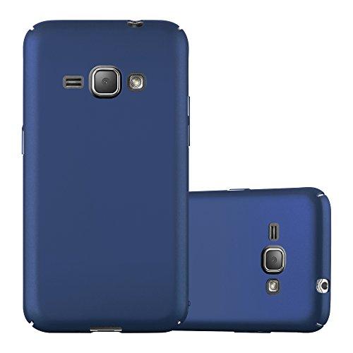 Cadorabo Hülle für Samsung Galaxy J1 2016 (6) - Hülle in Metall BLAU – Hardcase Handyhülle im Matt Metal Design - Schutzhülle Bumper Back Case Cover