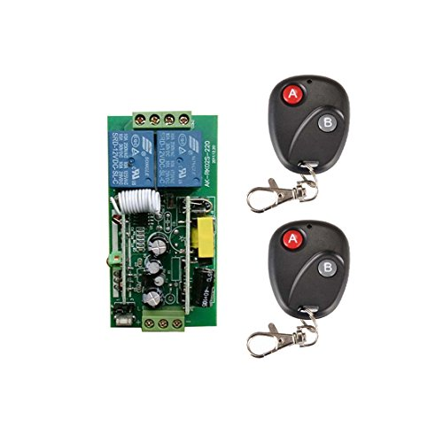 lejin 2Canal radiocontrol Interruptores de radio con mando a distancia AC 220V Código Aprendizaje inteligente Dos Canal Mando a distancia Interruptor + 2* 2Botón fernsteuerungs lámpara Impuestos Pult Luz del Motor para puerta
