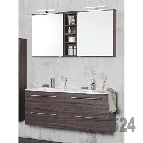 Badmöbelset Mailand Eiche dunkel inkl. Doppel-Waschbecken