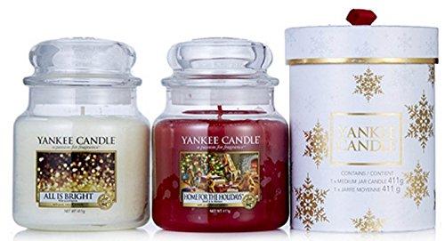 Official Yankee Candle The Perfect Christmas set of 2classic Signature medio con fiocchi di neve regalo–all is Bright & casa per le vacanze