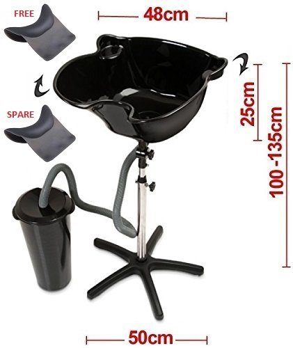 All-In-One Elite Hairdressers Portable Salon Tilting Black Backwash Basin Bowl Stand with Drainage Tank and 2 x Gel Neck Rests (including Spare) - Hair Barber Salon Clinic Surgery Training