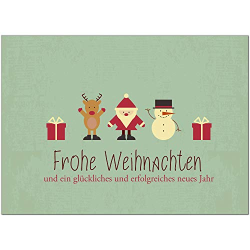 30 x moderne Weihnachtskarten mit Umschlag, Motiv Moderner Vintage Look mit weihnachtlichen Symbolen (Türkis grün) - Grußkarten im Postkarten Format/Weihnachten/im Set