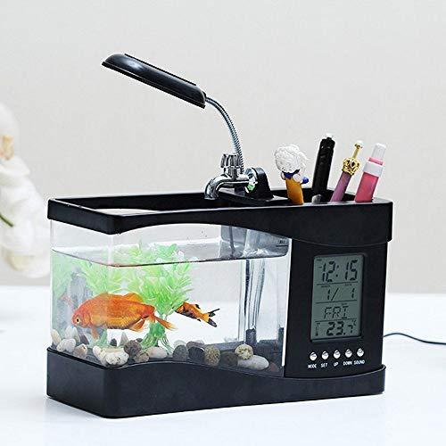 Jiay Mini acuario USB para acuario Luces LED de pecera para Betta Fish Pecera de escritorio Peque/ño acuario Rojo