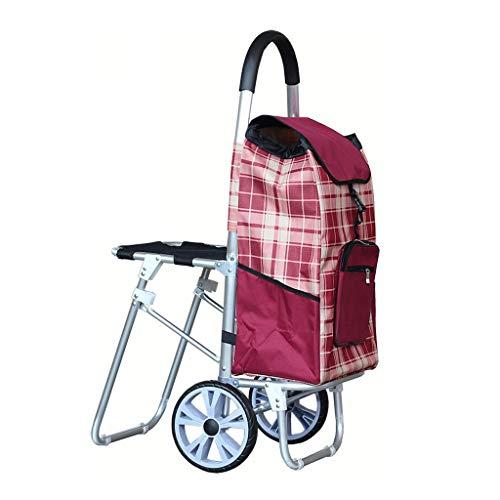 Einkaufslaufkatze, Aluminium faltender tragbarer Lebensmittelgeschäft-Einkaufswagen-Gepäcklaufkatze (Color : Red)