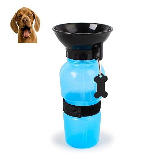 EurCross Hunde Wasser Flasche für Outdoor Sport Reisen mit Trageriemen tragbar Dog Becher, Outdoor-Feed Trinkflasche Pet Blau