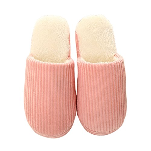 Meijunter Unisex Classic Zuhause Baumwolle Schuhe Warm Non-slip Floor Hausschuhe Pink