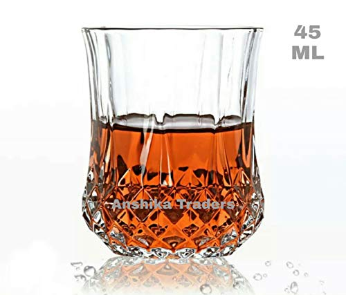 Anshika Traders Crystal Whiskey Scotch Wine Glass Sets of 6 Pieces Tumbler Small Glasses 45 ML Drinkware Clear Transparent
