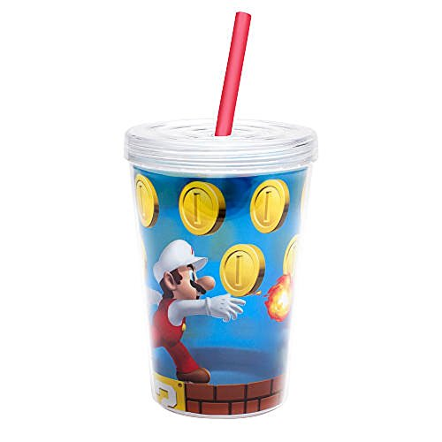 Zak Designs Nintendo Super Mario Brothers Double-Wall Tumbler Cup with Straw, 13 oz