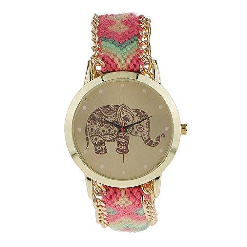 Pulsera Reloj Multicolor Elefante Comodo de Moda para Mujeres Niños para Cumpleaños Navidad Regalo