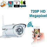 Floureon SP007 Caméra IP HD 720p sans Fil Jour/Nuit Vision Nocturne Carte SD 128Go WIFI ONVIF Cam Rotatif IR-CUT Détection du Mouvement Alarme par Mail/Téléphone Accès à distance par PC Phone P2P Blanc