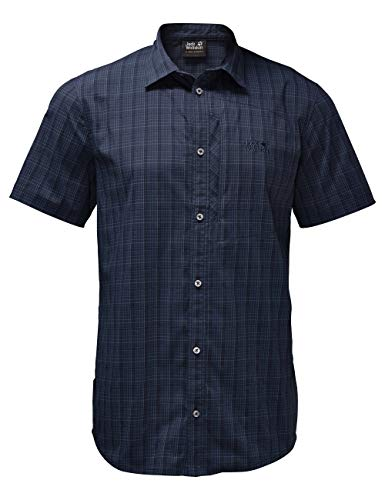 Jack Wolfskin Herren Rays Stretch Vent Shirt Men Hemd, Night Blue Checks, L