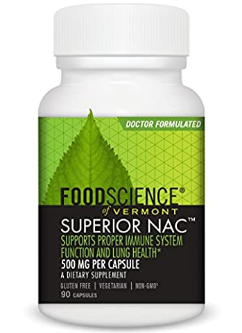FoodScience of Vermont Superior NAC, Amino Acid Immune System Support, 90 500mg Capsules
