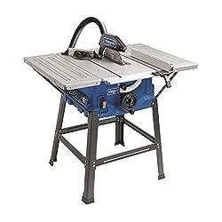 Scie à table Scheppach HS100S (2000W, lame de scie Ø250mm, hauteur de coupe 85mm, taille de table avec élargissement 642 x 940 mm, hauteur de table 830mm)