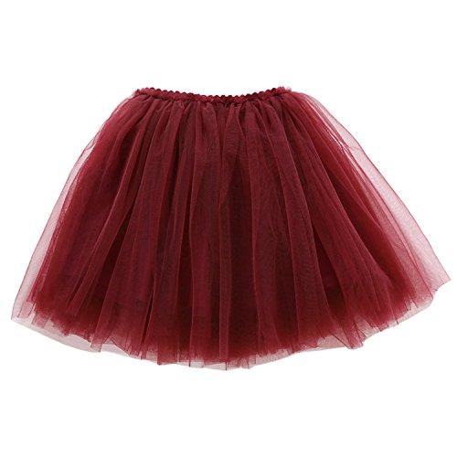 HAPPY CHERRY Mädchen Tüllrock einfarbig Tütü Ballerina Tutu Kostüm Tütü Prinzessin Rock Alltag Rock Kleinkind Mädchen Ballettkleid DREI-Schichten Puff Rock Größe 100 - Weinrot