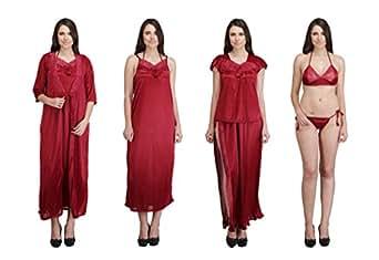Crazeis Women's 6-Piece Satin Nighty (Maroon_Free Size)