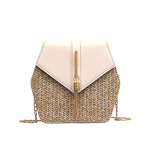 Calvinbi Taschen Damen Vintage Fransen gewebt Diamond Stitching Woven Schultertasche Bucket Bag -