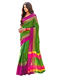 Vivera Women's Poly Cotton Saree (VRANGI_GREEN3_Pink_Free Size)