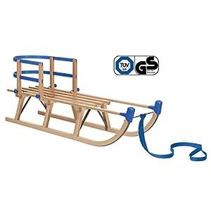 Impag® Klassischer Davos-Schlitten Rodel | 100-125 cm lang | stabiles Buchenholz | belastbar bis 110 kg | mit Zuggurt und Sicherheits-Rückenlehne | TÜV geprüft