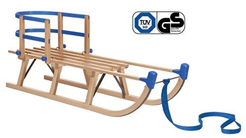 Impag® Holzschlitten Rodelschlitten mit Zuggurt und Lehne Blau Davos 125 cm lang
