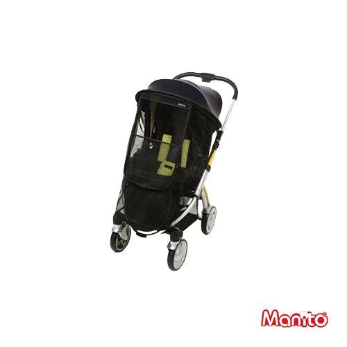 [Manito] Magic Shade / Sonnenschutz + Moskitonetz für Kinderwagen, Sportkinderwagen und Autositz, Weitsonnenschutz, UV-Cut, Universal und einfache Installation (Black-Black)