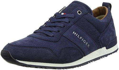 Tommy Hilfiger Herren Iconic Nubuck Leather Runner Sneaker Blau (Vintage Indigo 014)