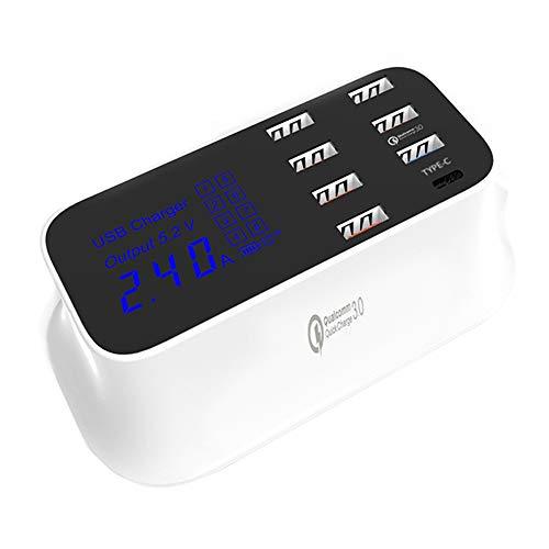 en mehrerer USB-Ladegeraet, 40W / 8A 8-Port-Desktop-Ladegeraet Hub mit 1 Typ C-Port und 1 Quick Charge 3.0 [EU-Stecker] ()
