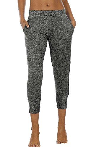 icyzone Damen Caprihose 3/4 Jogginghose Sweathose - Sport Workout Running Pants Elastische Trainingshose (XL, Charcoal)