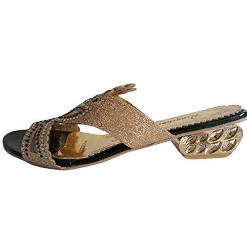 HuaMore Ciabatte Estive da Donna, Pantofole Casual in Cristallo, Eleganti Sandali da Sposa
