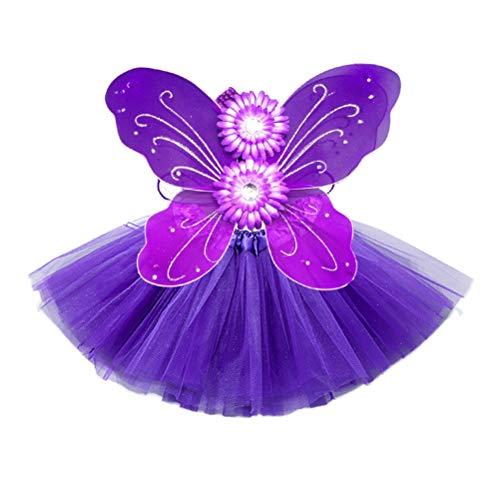 BESTOYARD 3 stücke Schmetterlingsflügel Tutu Kleid Set Mädchen Headwear Rock Kit Prinzessin Leistung Tutu Rock Kostüm Halloween Kostüm für Mädchen (Lila)
