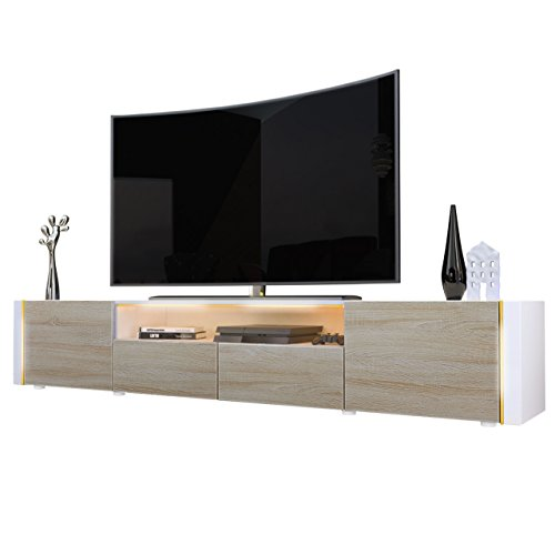 Tv Stand Unit Marino V2, Carcass In White / Front In Rough-sawn Oak