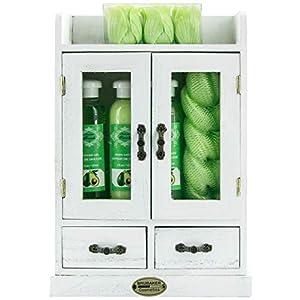 BRUBAKER Cosmetics – 10-teiliges Bade- und Pflege Geschenkset – Avocado – im Vintage Holzschrank Weiß