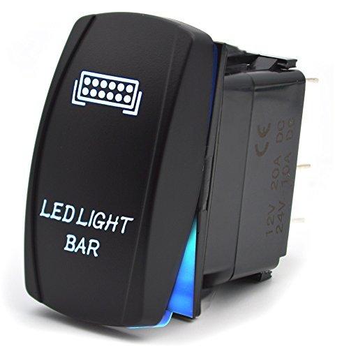 5-Pin Interruttore a Pulsante LED Luci ON/OFF Impermeabile Switch per Faro Della Barra Luminosa del Bagagliaio Della Barca 12V 20A/24V 10A Luce Blu