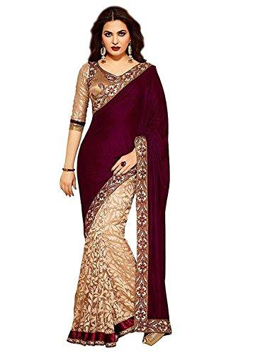 Ganga Shree Women's With Blouse Piece Velvet & Net Saree (Gsbtt66 _velvet...