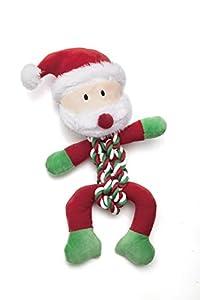Pistache Pet Jouet pour chien de Noël–Père Noël en peluche et corde avec couineur. 35cm/35,6cm