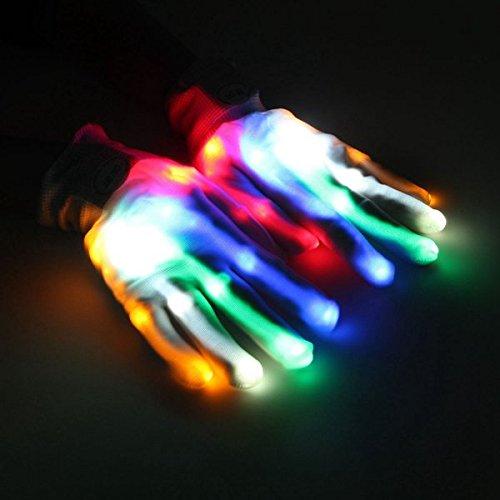 Bazaar Mehrfarbig leuchtende LED-Handschuhe Electric Light Up Weihnachten Dance Performance Rave Party Fun Requisiten